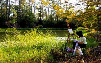 Painting At The Pond Poster