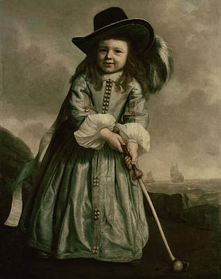 Painting Of A Child Playing Golf Poster by Artist Unknown