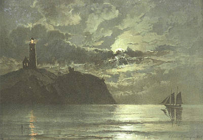 Painting Of A Lighthouse At Night From C Poster