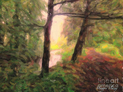 Landscape Painting Of Path Into Woods Poster by Maggie Vlazny