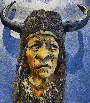 Painting Of Wood Spirit Carving Native American Indian Poster by Teara Na