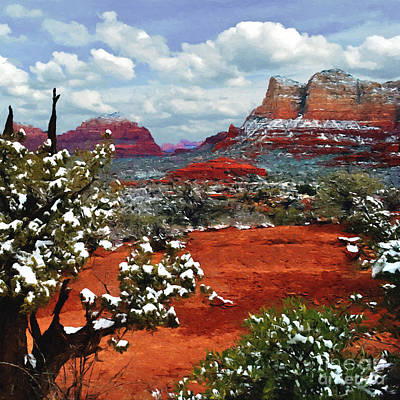 Painting Secret Mountain Wilderness Sedona Arizona Poster by Bob and Nadine Johnston