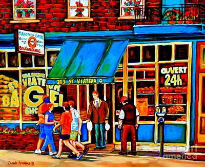 Paintings Of Montreal Memories Bagel And Bread Shop St. Viateur Boulangerie Depanneur City Scenes Poster by Carole Spandau