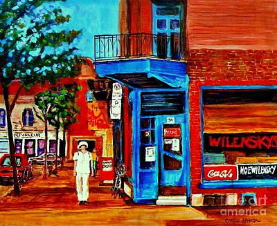 Paintings Of Montreal Memories Moe Wilenskys Famous Corner Deli  Montreal Spring City Scene Poster by Carole Spandau