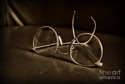 Pair Of Glasses Black And White Poster