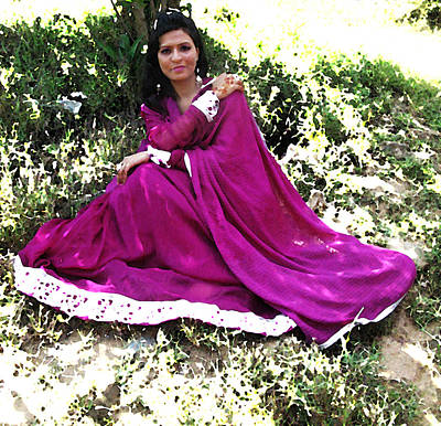 Pakistani Woman In Flowing Dress Poster