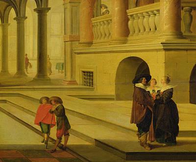 Palace Courtyard Poster by Dirck van Delen