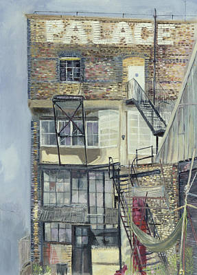 Palace Wharf, Rainville Road Oil Pastel On Paper Poster by Sophia Elliot