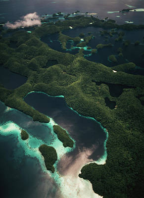 Palau, Micronesia, Aerial View Of Rock Poster by Stuart Westmorland