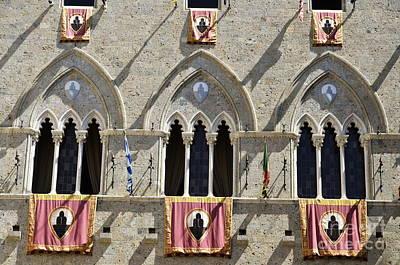Palazzo Salimbeni With Flags Poster by Sami Sarkis