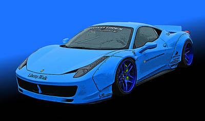 Pale Blue Ferrari 458 Italia Poster by Samuel Sheats