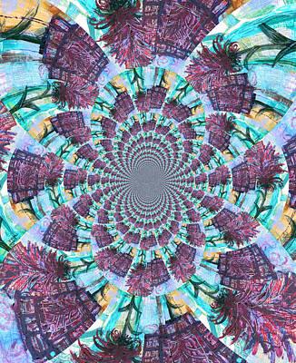 Palette Knife Flowers Kaleidoscope Mandela Poster