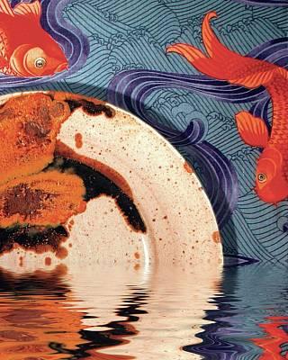 Palisander Stoneware Against F Schumacher Fabric Poster