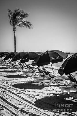 Palm And Beach Umbrellas - Higgs Beach - Key West - Black And White Poster by Ian Monk