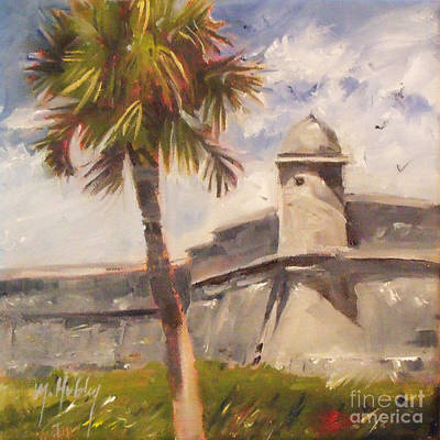 Palm At St. Augustine Castillo Fort Poster by Mary Hubley