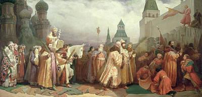 Palm Sunday Procession Under The Reign Of Tsar Alexis Romanov Poster by Viatcheslav Grigorievitch Schwarz