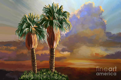 Poster featuring the painting Palm Tree Cabo Sunset by Tim Gilliland