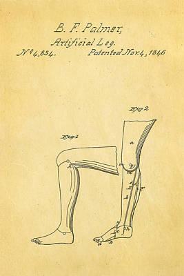 Palmer Artificial Leg Patent Art 1846 Poster