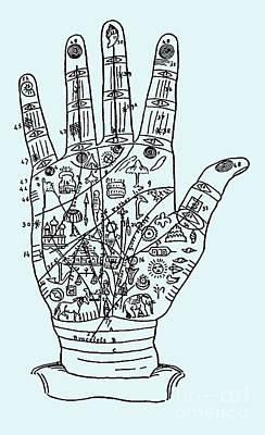 Palmistry Hand Poster by Safran Fine Art