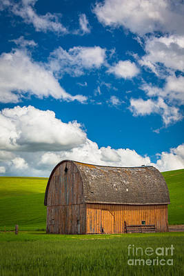 Palouse Barn And Clouds Poster by Inge Johnsson
