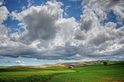 Palouse Country Barn With Storm Clouds Poster