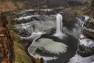 Palouse Falls In Winter Poster by Mark Kiver