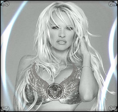 Poster featuring the digital art Pamela Anderson - Angel Rays Of Light by Absinthe Art By Michelle LeAnn Scott