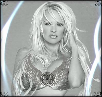 Pamela Anderson - Angel Rays Of Light Poster by Absinthe Art By Michelle LeAnn Scott