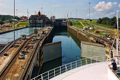 Panama Canal Locks With Ships Poster by Linda Phelps
