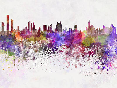 Panama City Skyline In Watercolor Background Poster