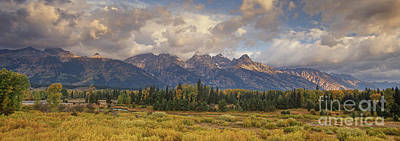 Poster featuring the photograph Panaroma Clearing Storm On A Fall Morning In Grand Tetons National Park by Dave Welling