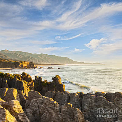 Pancake Rocks Dolomite Point Punakaiki New Zealand Poster by Colin and Linda McKie