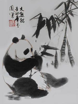 Poster featuring the photograph Panda And Bamboo by Yufeng Wang
