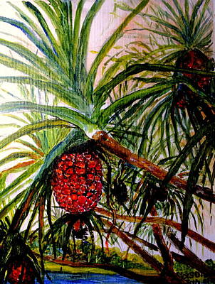 Poster featuring the painting Pandanus Palm Fruit  by Jason Sentuf