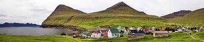 Panorama Of Gjogv Village Faroe Islands Poster by David Smith