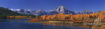 Poster featuring the photograph Panorama Fall Morning Oxbow Bend Grand Tetons National Park Wyoming by Dave Welling