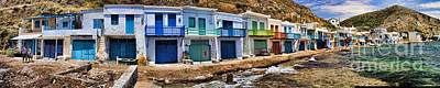 Panorama Of Tiny Colorful Fishing Huts In Milos Poster