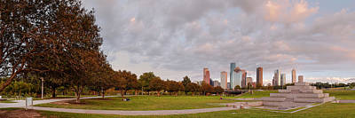 Panorama Of Downtown Houston And Police Memorial - Houston Texas Poster