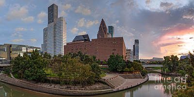 Panorama Of Downtown Houston Skyline Theater District - Houston Texas Poster
