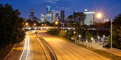 Panorama Of Downtown Houston With Super Moon Rising Behind - Houston Texas Poster by Silvio Ligutti