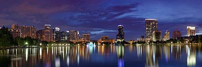Panorama Of Downtown Orlando Poster by Silvio Ligutti