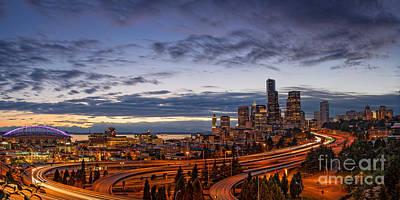Panorama Of Downtown Seattle From Jose Rizal Park - Seattle Washington Poster
