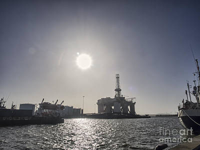 Panorama Of Esbjerg Oil Harbor With Rig Poster by Frank Bach