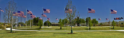 Poster featuring the photograph Panorama Of Flags - Veterans Memorial Park by Allen Sheffield