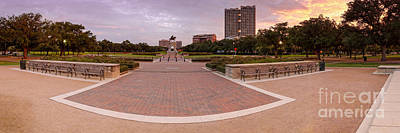 Panorama Of Hermann Park With Sam Houston Statue At Sunrise - Museum District Houston Texas Poster by Silvio Ligutti