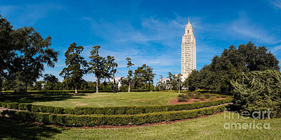 Panorama Of Louisiana State Capitol Building And Gardens - Baton Rouge Poster by Silvio Ligutti