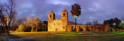 Panorama Of Mission Concepcion At Dusk - San Antonio Texas Poster