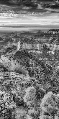Panorama Of Mount Hayden Point Imperial Grand Canyon National Park In Black White - Arizona Poster by Silvio Ligutti