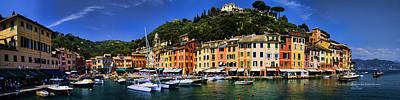 Panorama Of Portofino Harbour Italian Riviera Poster by David Smith