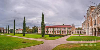 Panorama Of Rice University Academic Quad II - Houston Texas Poster by Silvio Ligutti